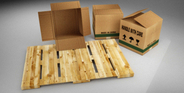 Boxes and Pallet - 3DOcean Item for Sale