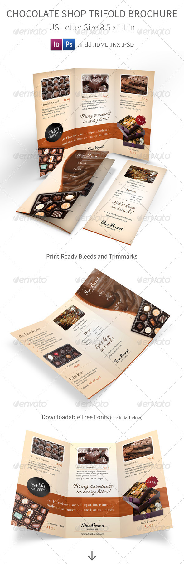 GraphicRiver Chocolate Shop Trifold Brochure 7709277