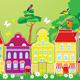 Frame with Decorative Colorful Houses in Summer - GraphicRiver Item for Sale