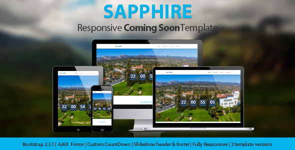 Sapphire - Responsive Coming Soon Page - Under Construction Specialty Pages