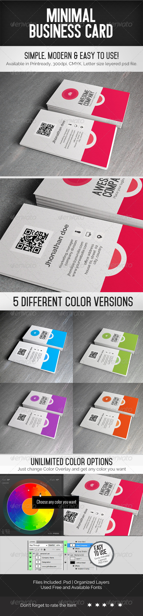 GraphicRiver Colorful Minimal Business Card 7710192