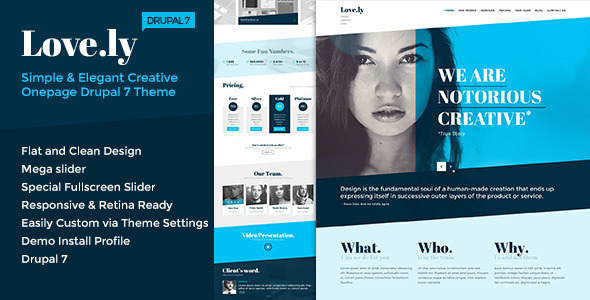 Love.ly - Simple & Elegant One Page Drupal Theme - Portfolio Creative