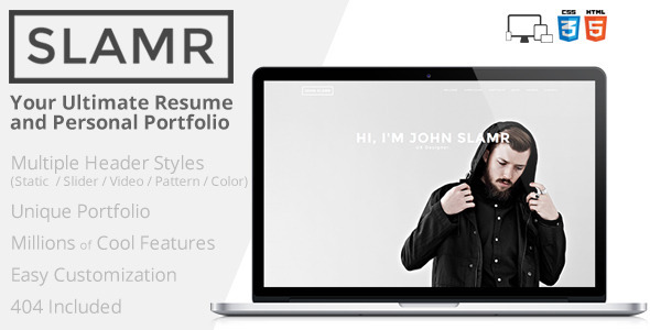 ThemeForest SLAMR Ultimate Resume and Personal Portfolio 7658524