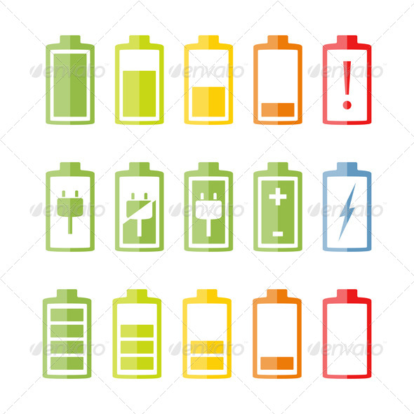 GraphicRiver Flat Battery Icons Set 7711905