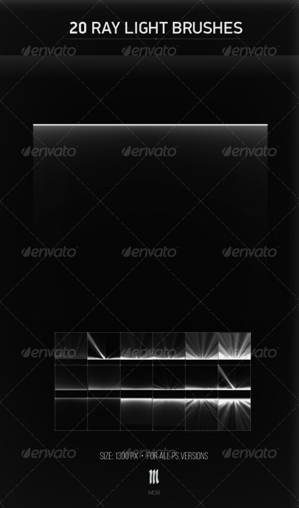 GraphicRiver 20 Ray Light Brushes 7712148