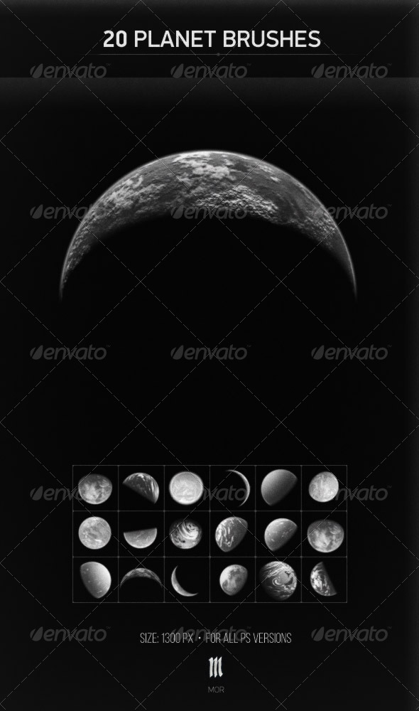 GraphicRiver 20 Planets Brushes 7712189