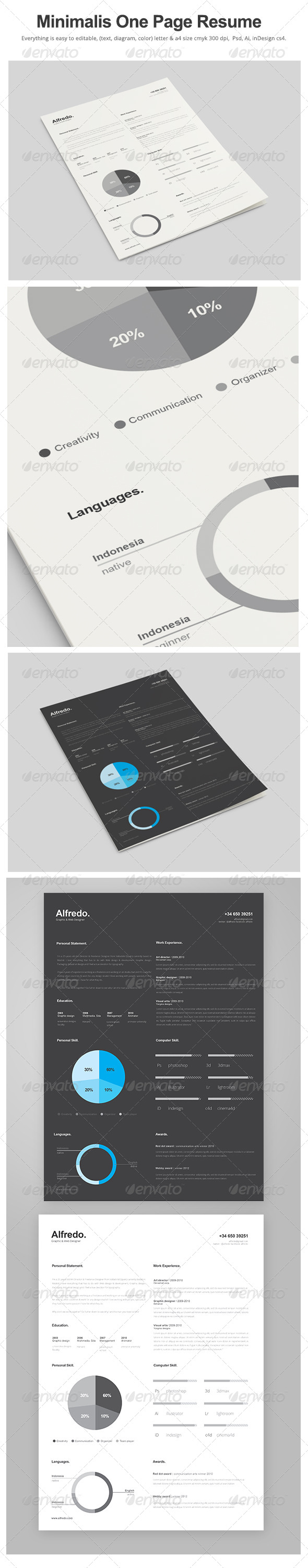 GraphicRiver Minimalist One Page Resume 7712390