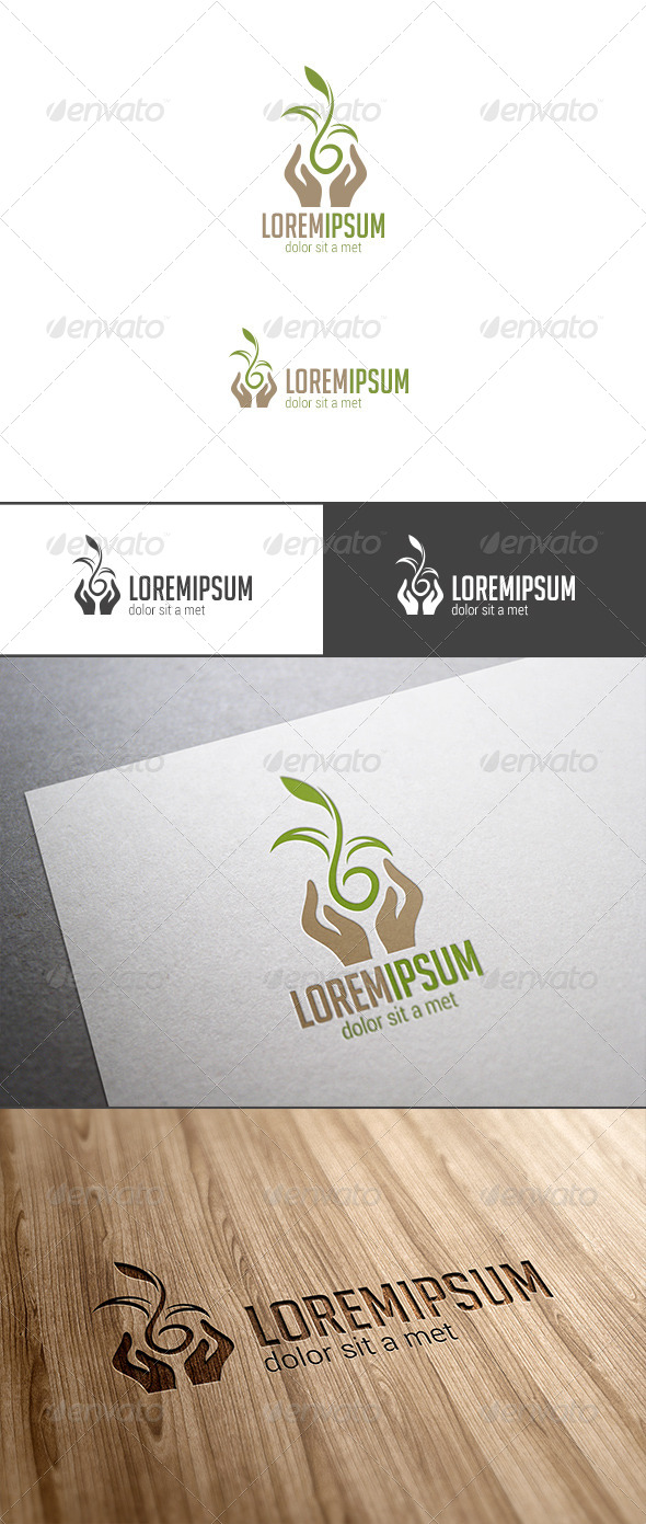 GraphicRiver Hands Holding Plant Logo 7712464