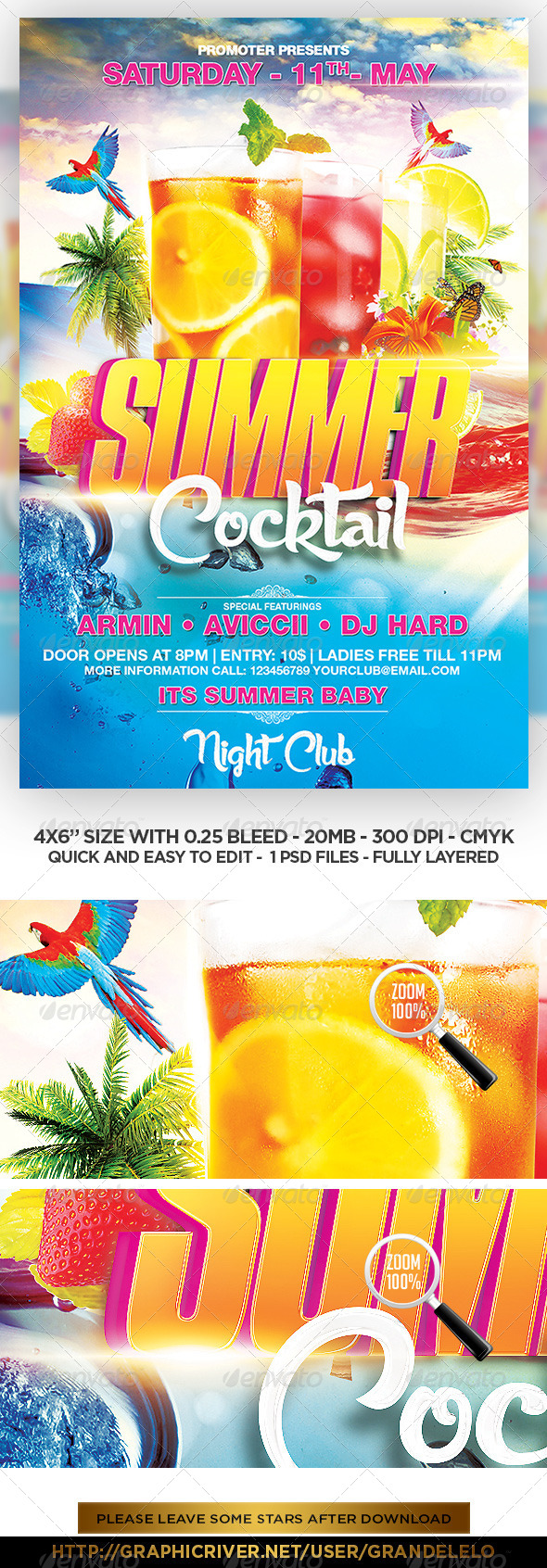 GraphicRiver Summer Cocktail Party Flyer Template 7712481