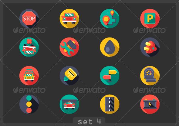 GraphicRiver Auto Flat Icons 7712560