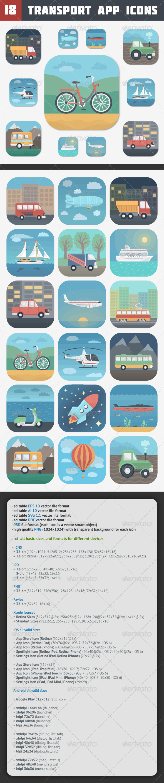 GraphicRiver Transport App Icons Set 7712618