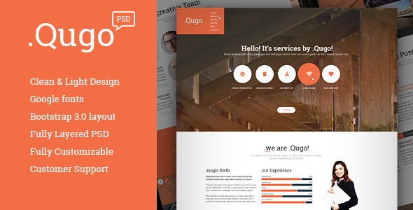 .Qugo one page template for Business and Portfolio is great structured so you can easily move any blocks, fix text etc. Template has a clean & stylish layo