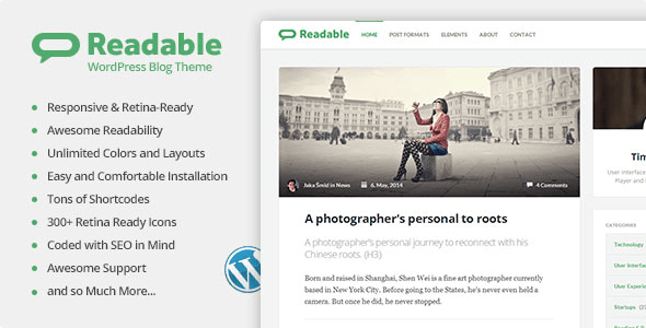 ThemeForest Readable WordPress Theme Focused on Readability 7712790