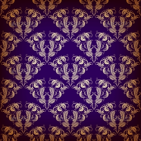 GraphicRiver Damask Seamless on Violet Background 7713844
