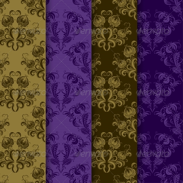 GraphicRiver Seamless Damask Pattern Set 7713853