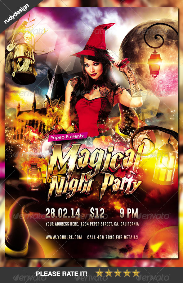 GraphicRiver Magical Night Wizard Party Flyer Design 7713871