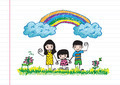 kids drawing happy family picture - PhotoDune Item for Sale