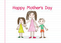 Happy mothers day card with family cartoons in  illustration - PhotoDune Item for Sale