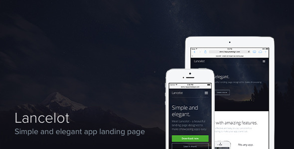 Lancelot – simple and elegant app landing page