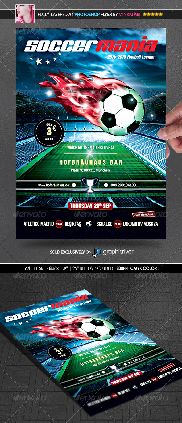 Soccer Mania (Football) Poster/Flyer - Sports Events