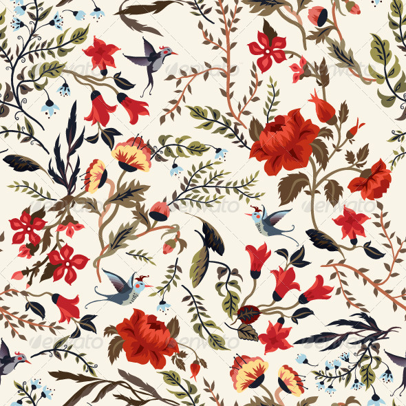 GraphicRiver Floral Pattern with Birds 7716179