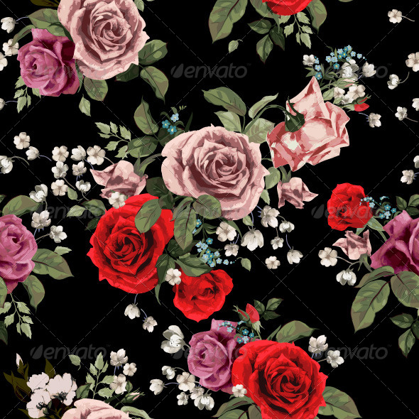GraphicRiver Roses Pattern 7716712