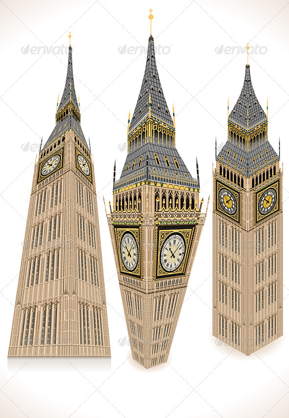 GraphicRiver Big Ben Tower Isolated on White 7716892