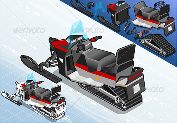 GraphicRiver Rear View Isometric Snowmobile 7716946