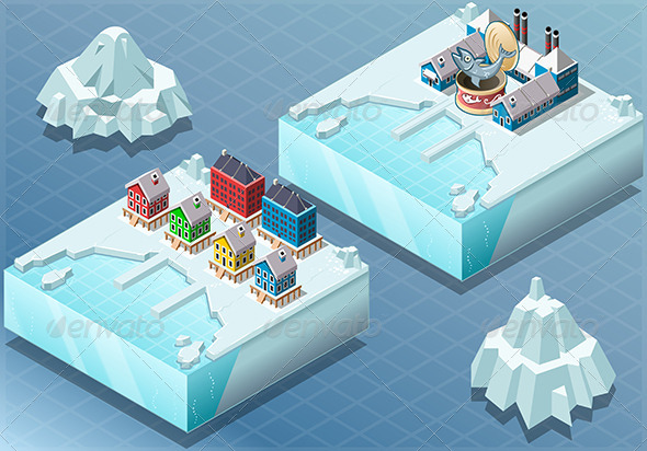 GraphicRiver Isometric Arctic Town and Fish Canning Factory 7717066