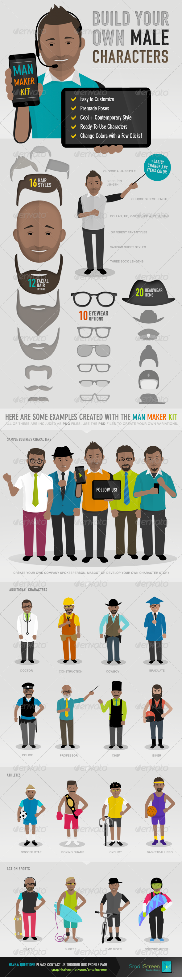 Man Maker Kit - Characters Illustrations