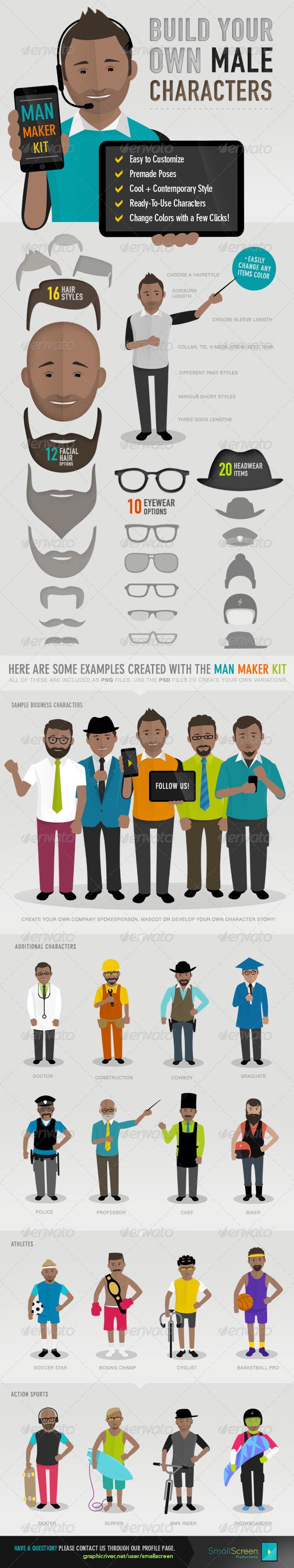 Man Maker Kit - Characters Illustrations