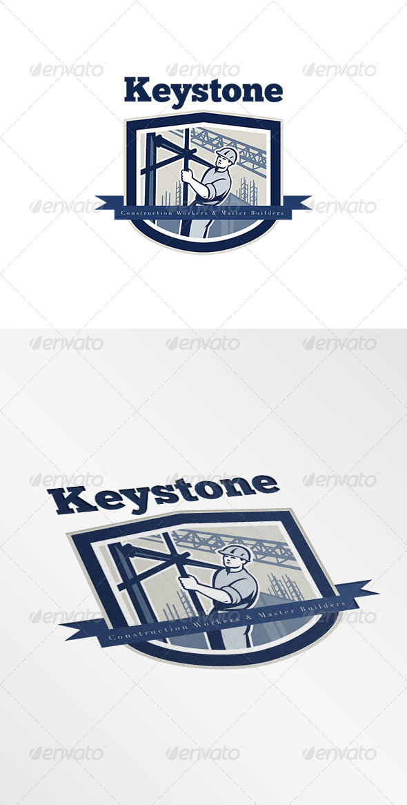 GraphicRiver Keystone Construction Workers Hire Logo 7717379