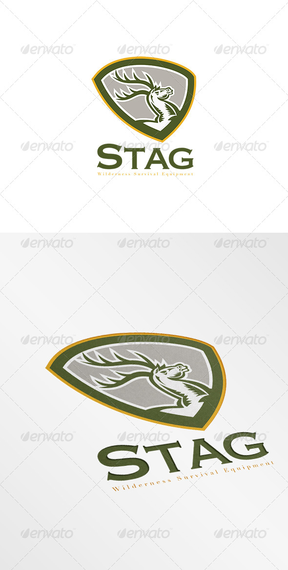 GraphicRiver Stag Wilderness Survival Equipment Logo 7717395