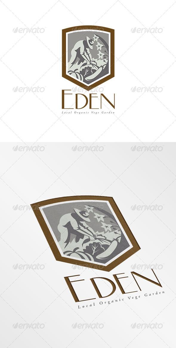 GraphicRiver Eden Local Organic Vege Garden Logo 7717399