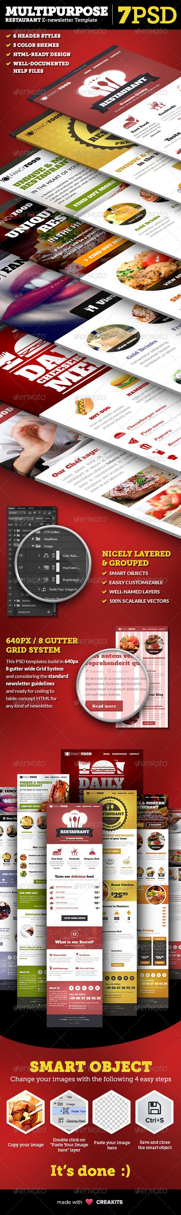 GraphicRiver Multipurpose Restaurant E-newsletter PSD Template 7717538