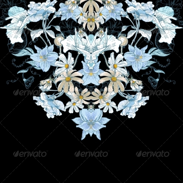 GraphicRiver Vintage Floral Card with Summer Flowers 7717545