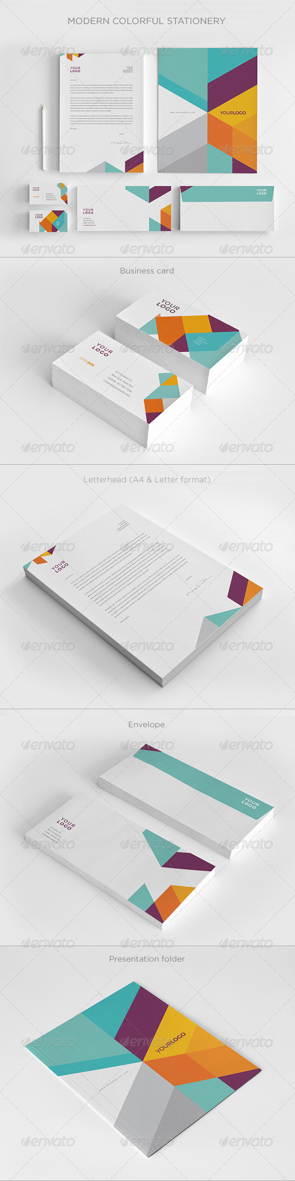 GraphicRiver Modern Colorful Stationery 7717605