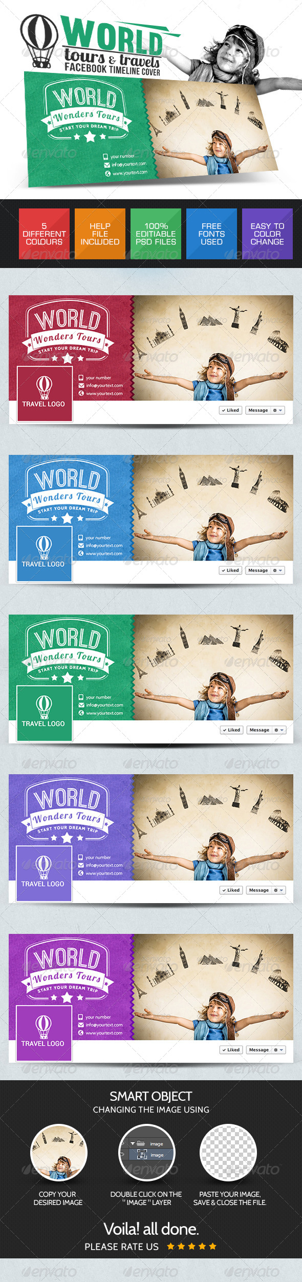 GraphicRiver Tour & Travels Facebook cover page 7718016