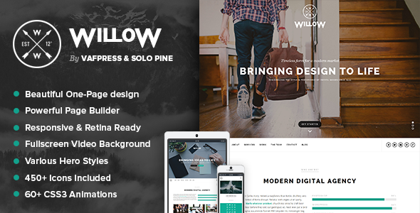 Willow - A One Page Multi-Purpose Theme - Creative WordPress