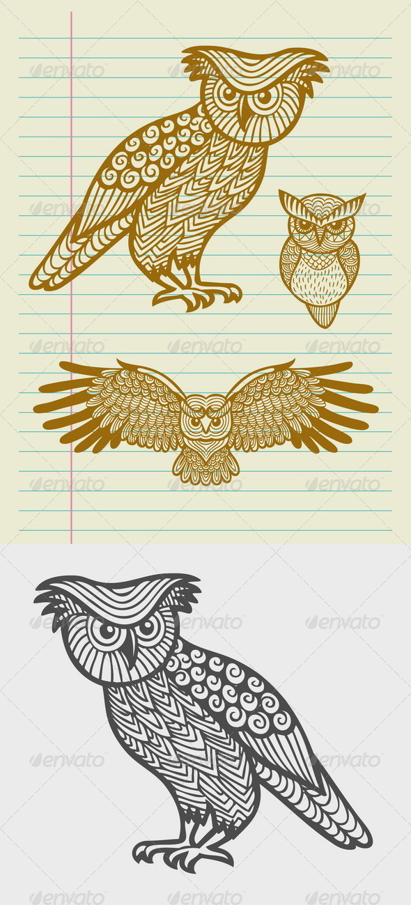 Decorative Owl Sketches - Animals Characters