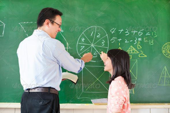 Teacher teach student to solve the math questions