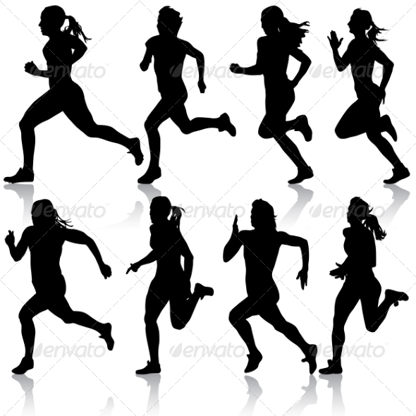GraphicRiver Set of Women Running Silhouettes 7719448