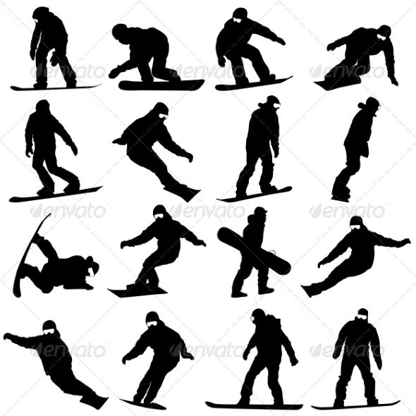 GraphicRiver Snowboarder Silhouettes 7719570