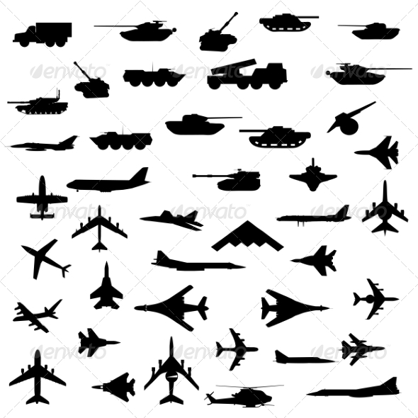 GraphicRiver Set of Aircraft Armored and Guns Silhouette 7719815