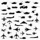 Set of Aircraft, Armored and Guns Silhouette