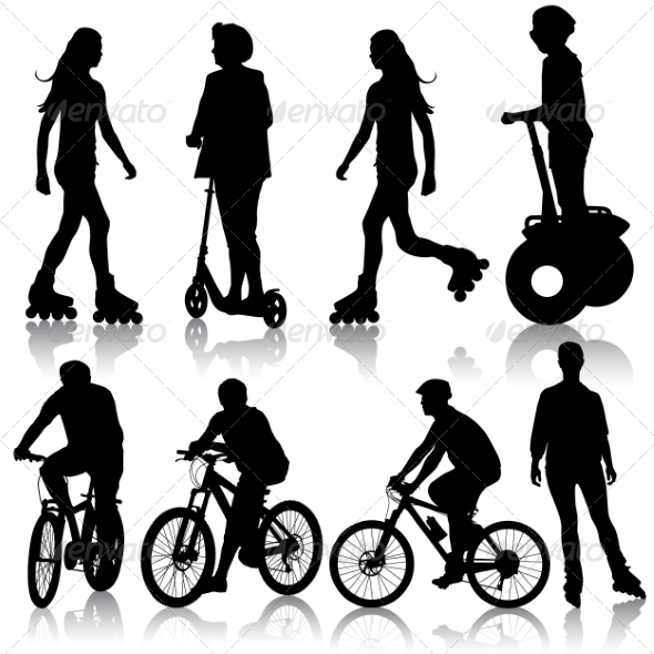 GraphicRiver Set of Cyclist Silhouettes 7719835