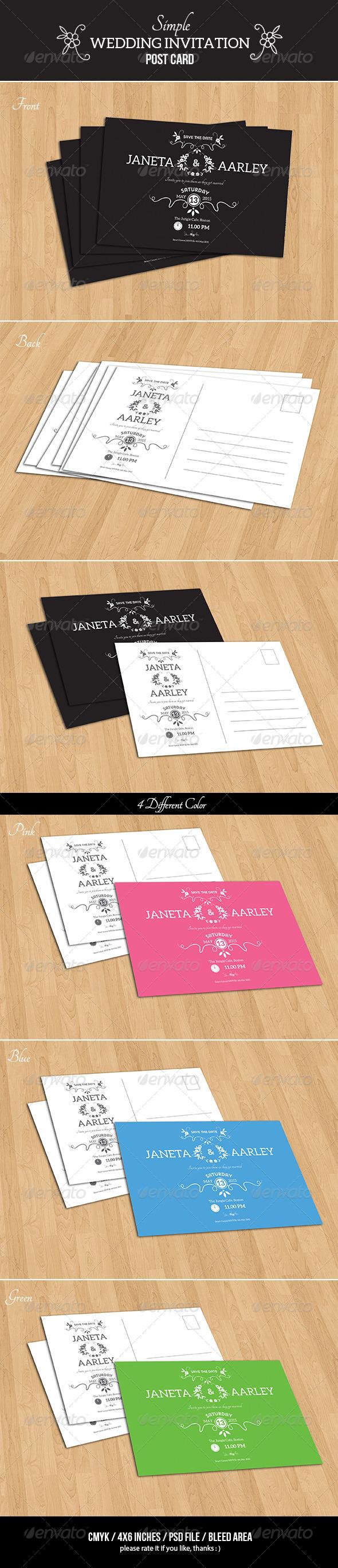 GraphicRiver Simple Wedding Invitation Post Card 7720256