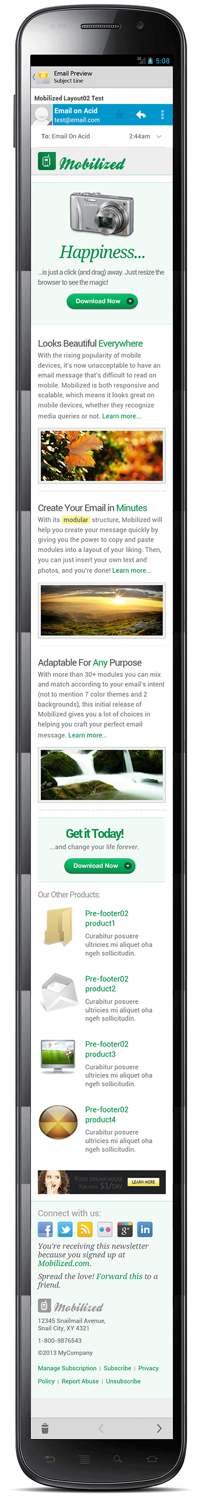 Mobilized-I - Responsive & Modular Email Templates - Screenshot of layout02 in a smartphone with Android OS, version 4. (320px screen)