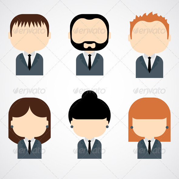 GraphicRiver Set of Colorful Business People Icons 7720613