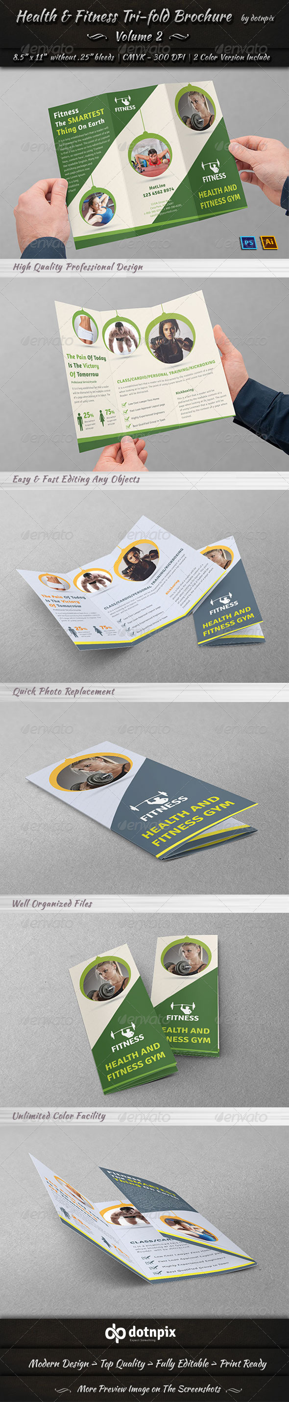GraphicRiver Health & Fitness Tri-Fold Brochure Volume 2 7720620
